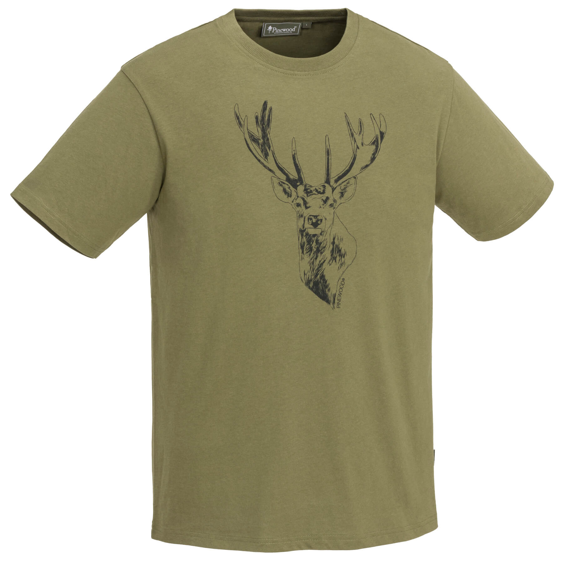 T-Shirt oliv mit Hirschmotiv