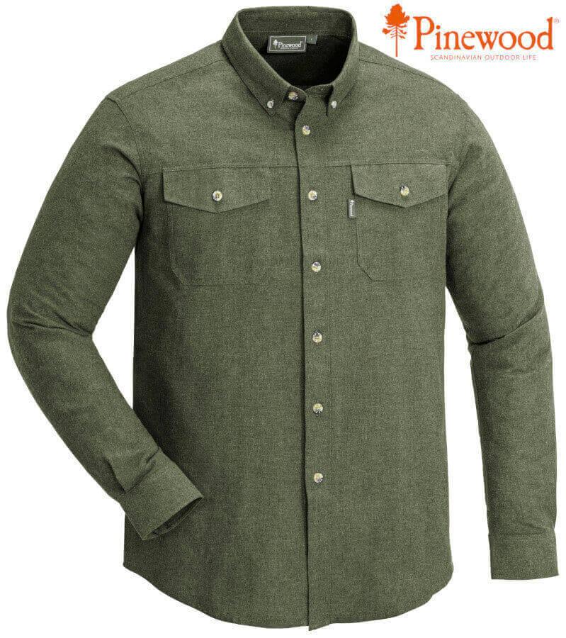 Jagdhemd Loui green melange reine Baumwolle von Pinewood