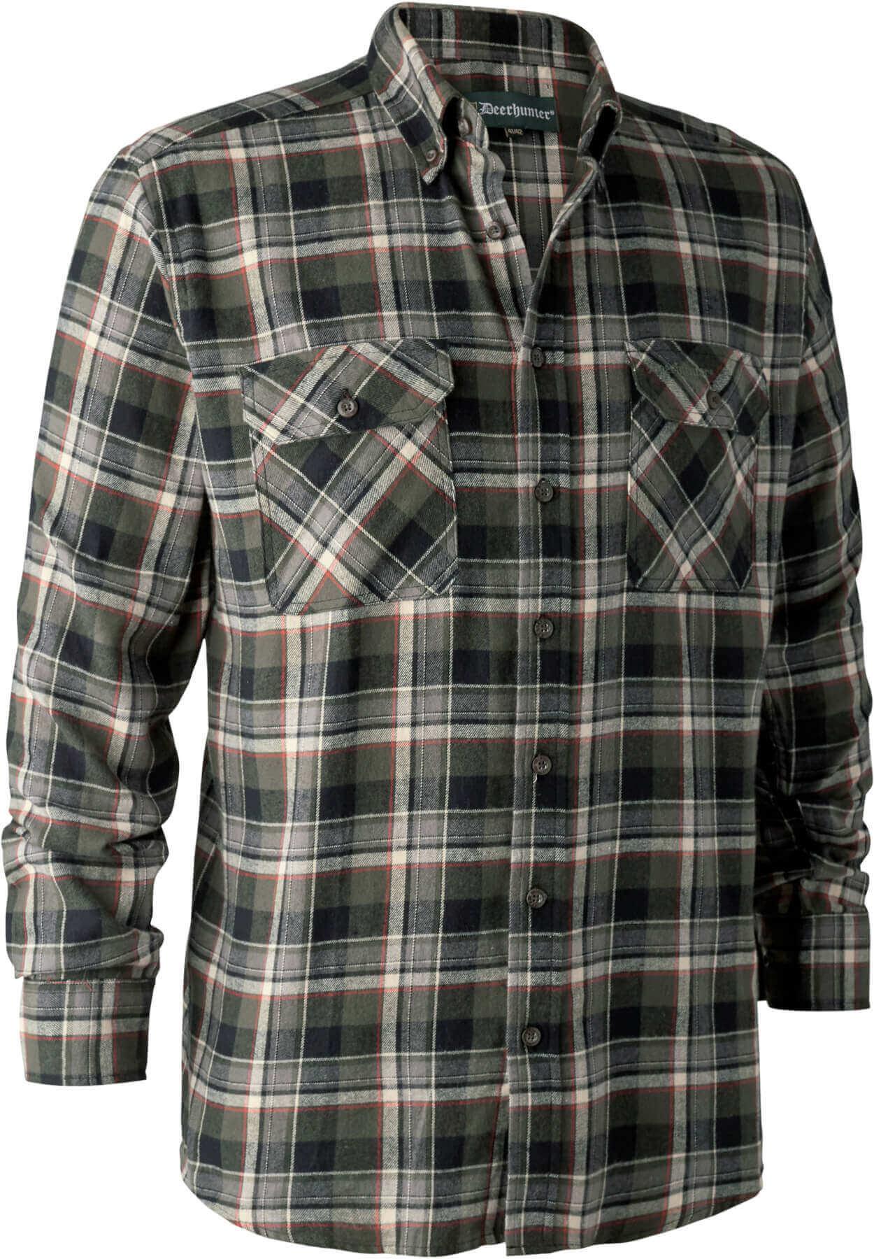 Grün schwarz kariertes Hemd mit Brusttaschen