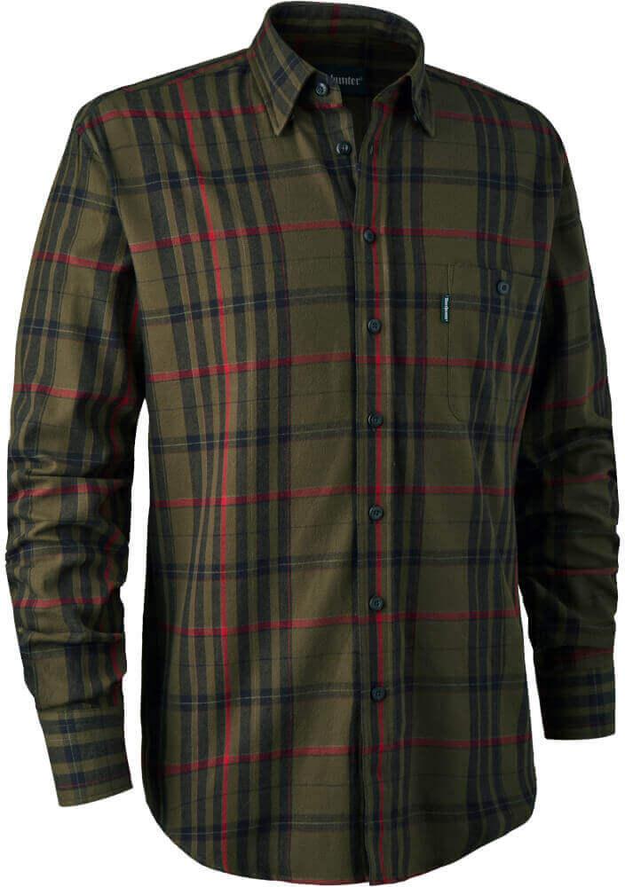 Jagdhemd Larry green-check mit Brusttasche aus reiner Baumwolle von Deerhunter