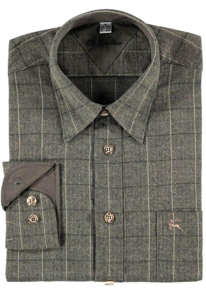weiches und warmes Flanellhemd in grauem Karo-Muster von Orbis Textil