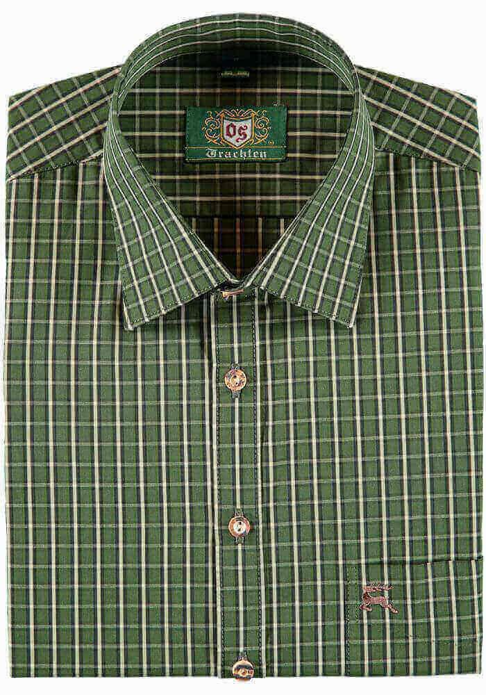 Jagdhemd aus reiner Baumwolle mit grünem Karomuster