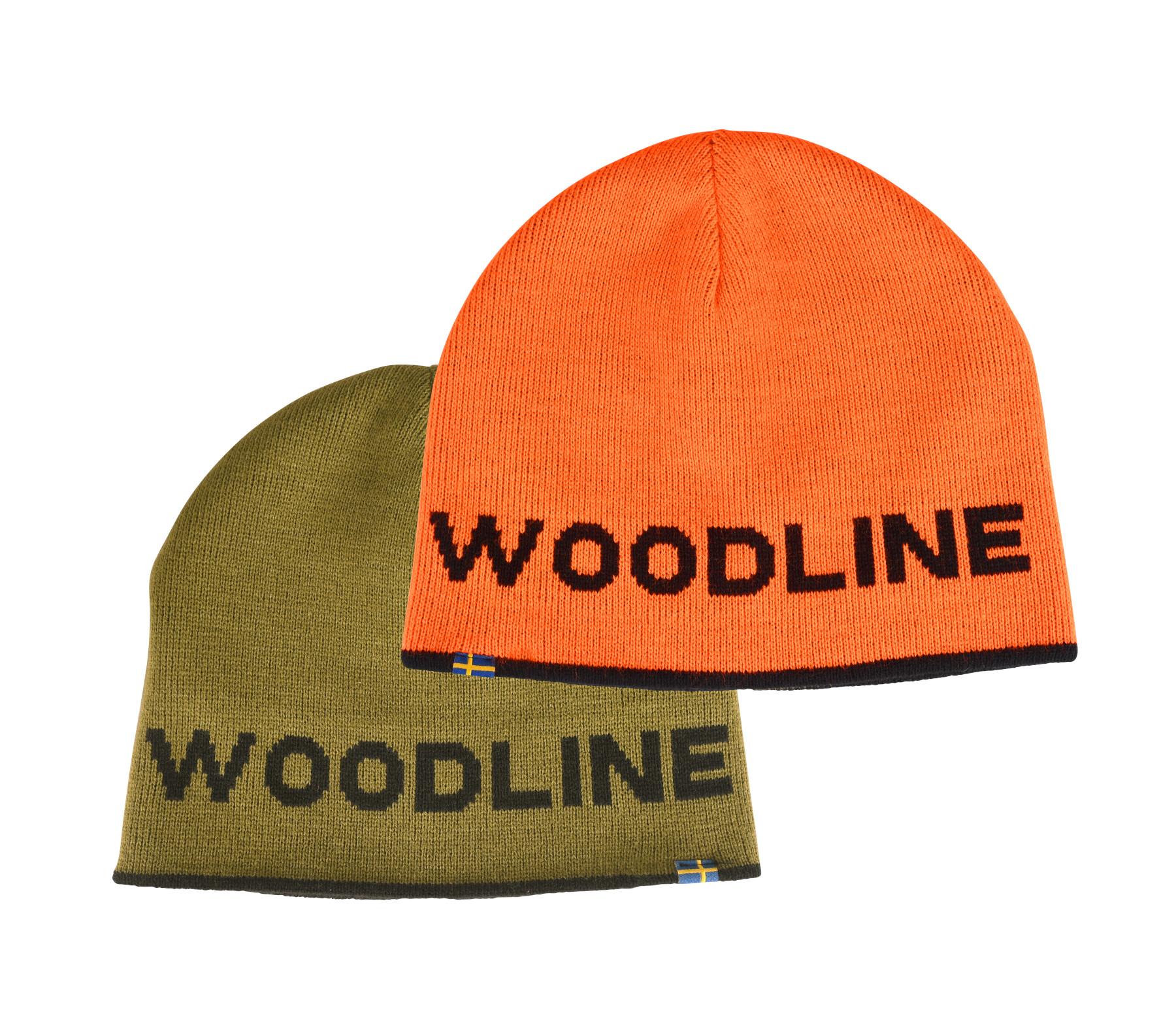 Wendemütze oliv und orange mit Woodline Logo