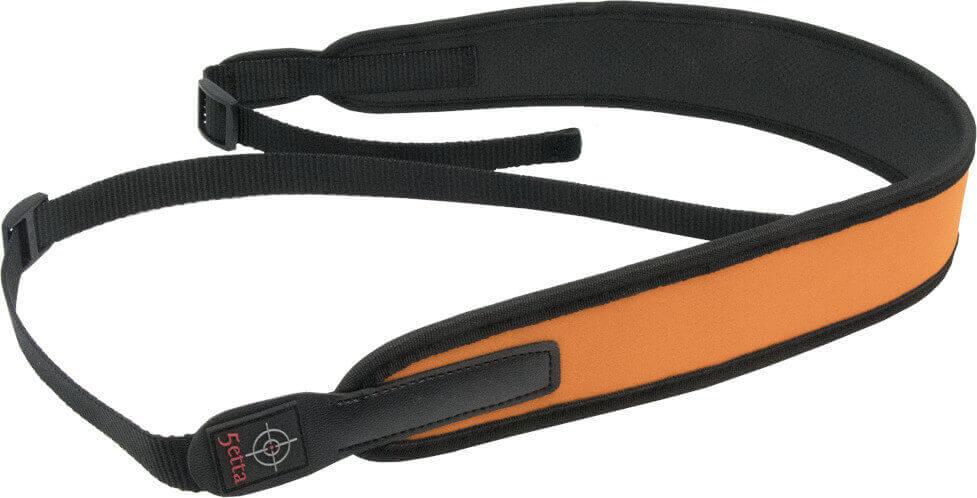 Gewehrriemen aus Neopren in orange, längenverstellbar
