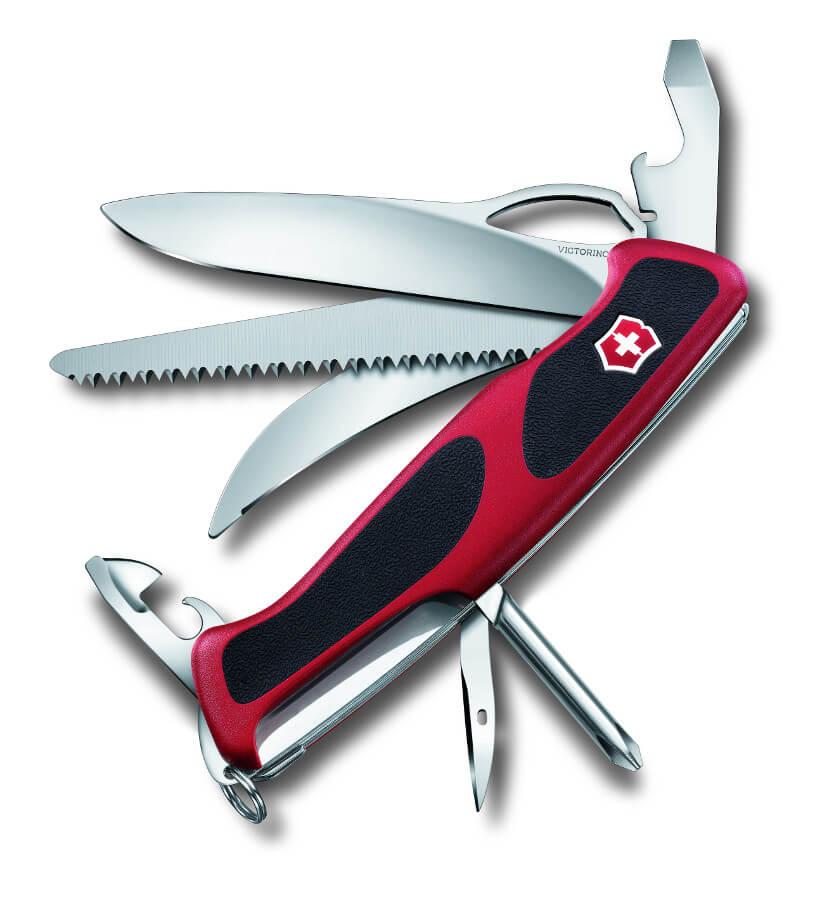 Outdoormesser Ranger Grip Hunter 157 rot mit 13 Funktionen von Victorinox