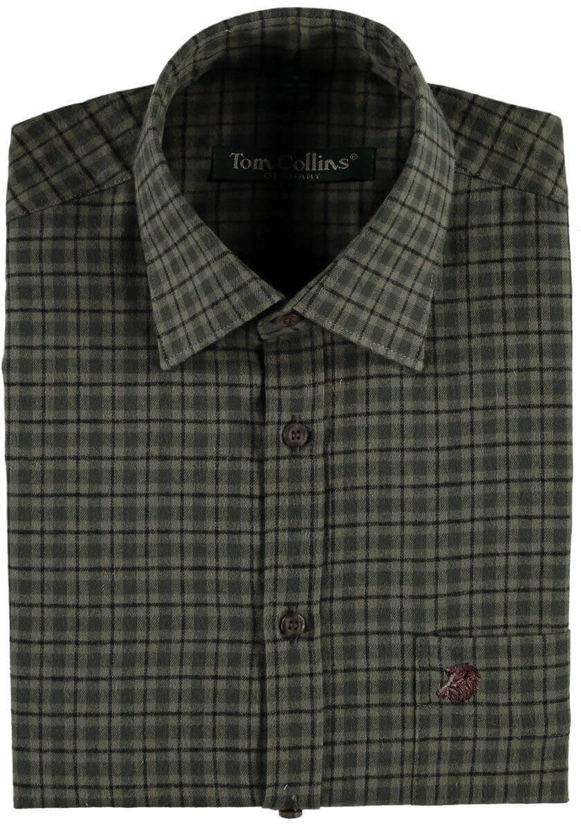 Jagdhemd feinkariert dunkelgrün aus reiner Baumwolle von Orbis Textil
