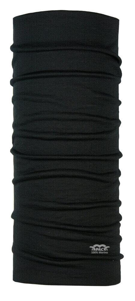 Multifunktionsschal schwarz aus reiner Merinowolle von P.A.C