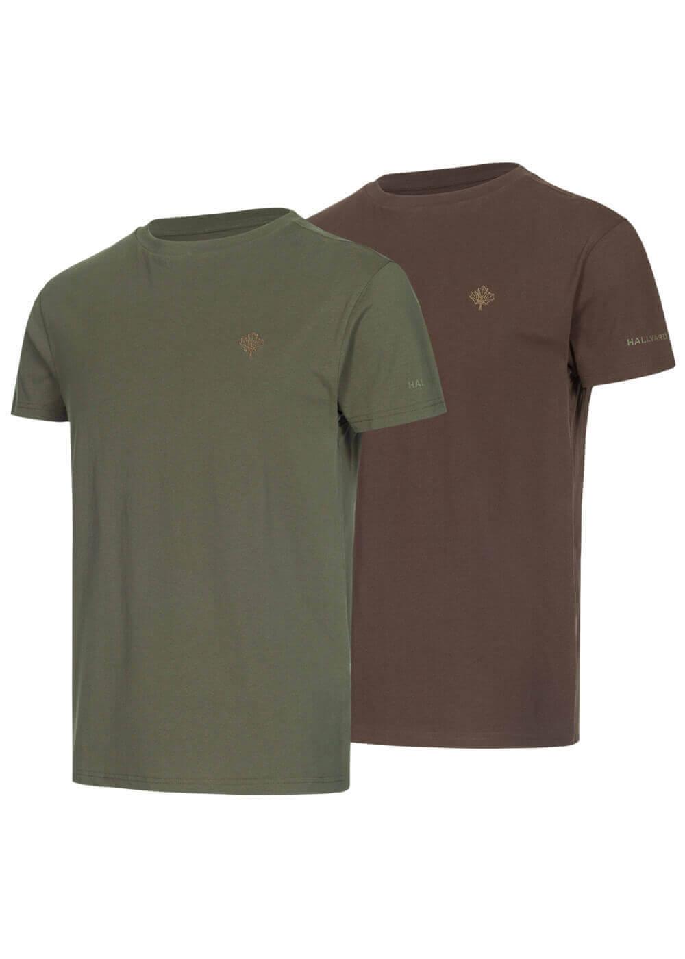 T-Shirt Doppelpack grün/braun aus reiner Baumwolle mit Stick