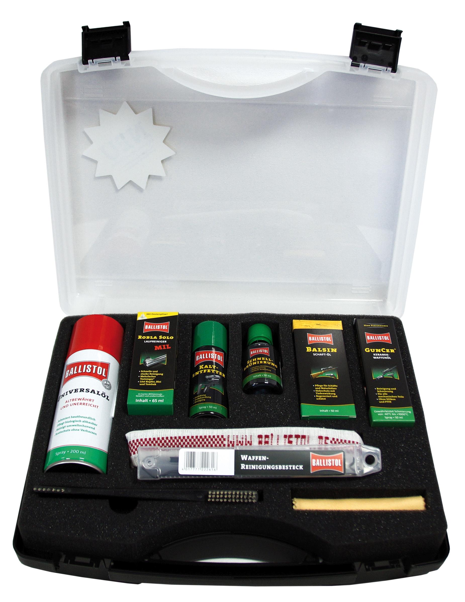 Waffenpflege Koffer von Ballistol mit vielen Reinigungs- und Pflegemitteln