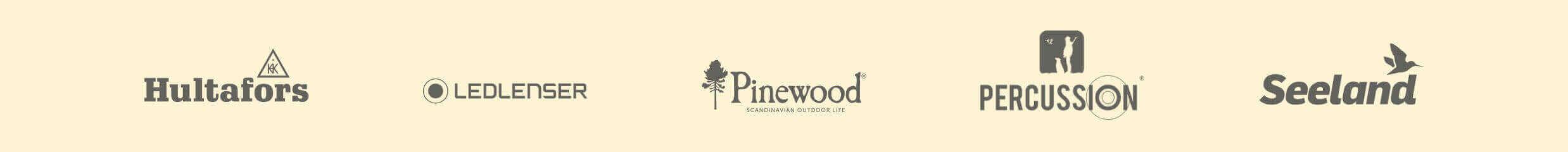 Markenslider mit Hultafors, LedLenser, Pinewood, Percussion und Seeland auf der Titelseite