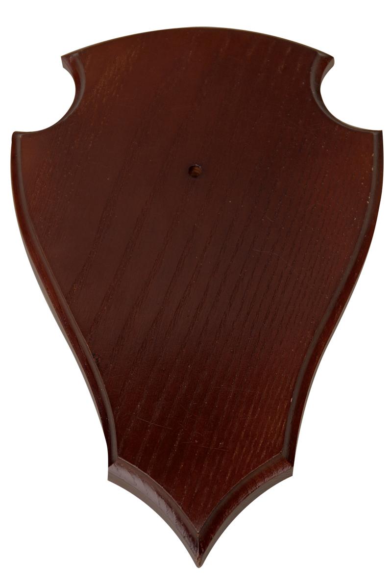 Gehörnbrett für die Rehbocktrophae aus dunklem Holz 19cm lang 12cm breit